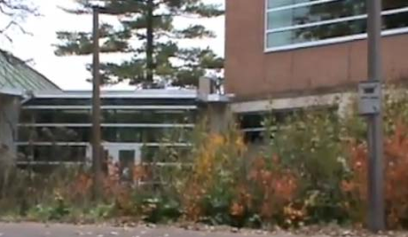The rain garden located at Erickson Hall.